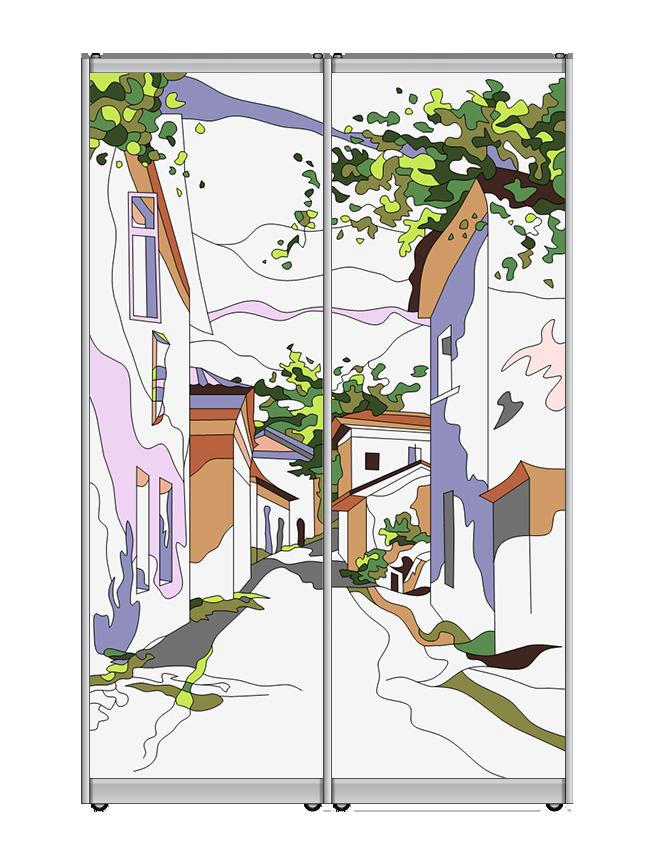 Двери-купе заливной витраж