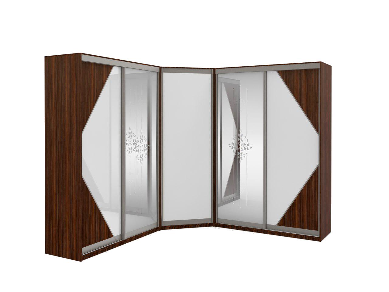 Угловой шкаф-купе с переходным диагональным модулем